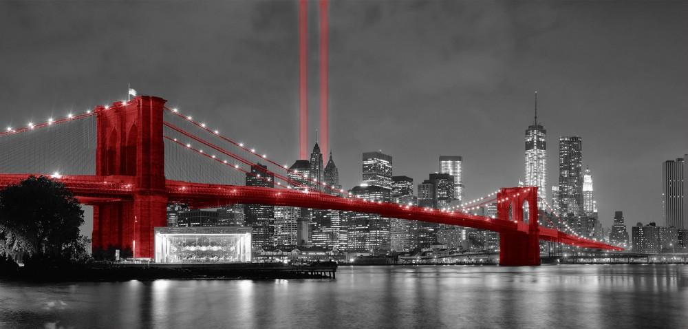 Fototapeta Brooklyn bridge red most powiększenie optyczne