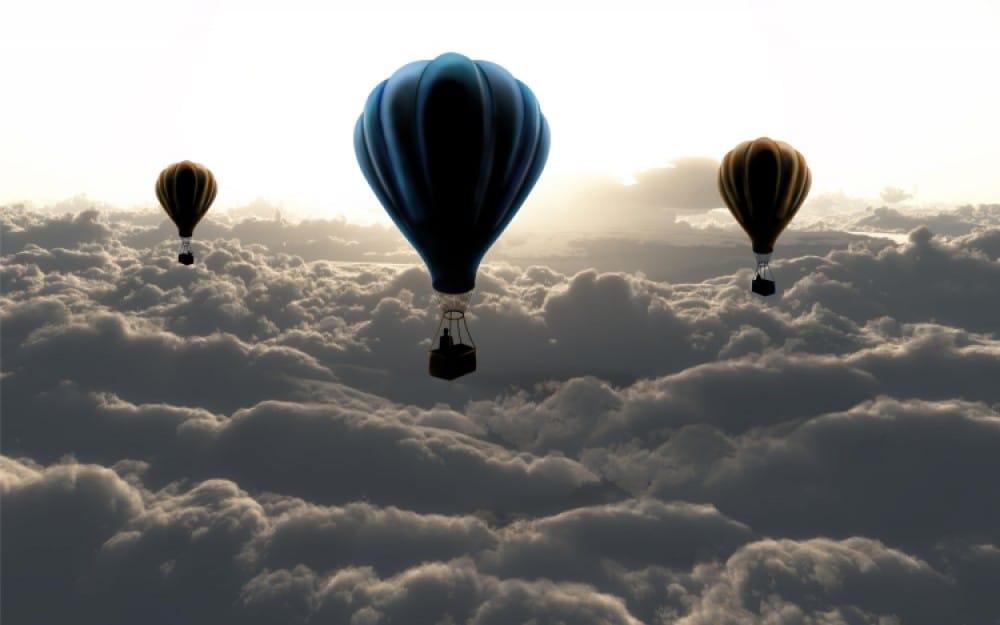 Fototapeta 3d Balony w chmurach z efektem głębi duża