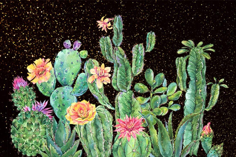 Fototapeta Kaktusy na czarno złotym tle