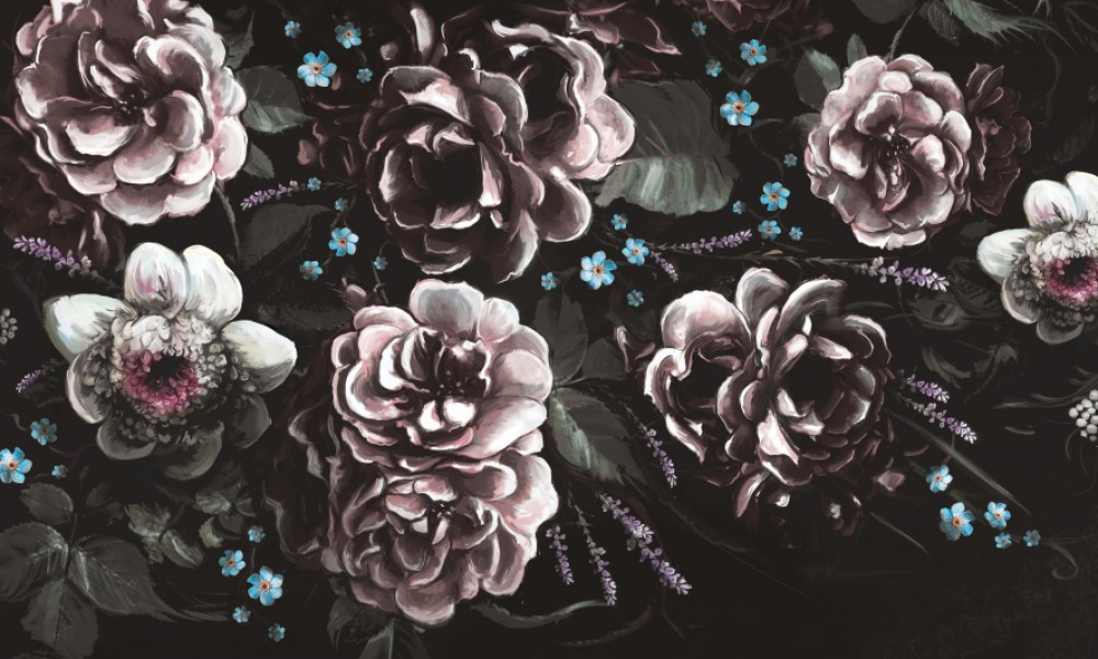 Fototapeta kwiaty retro II