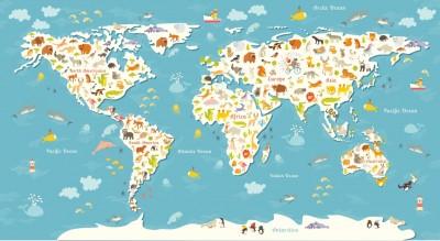 Fototapeta Mapa świata dla dzieci